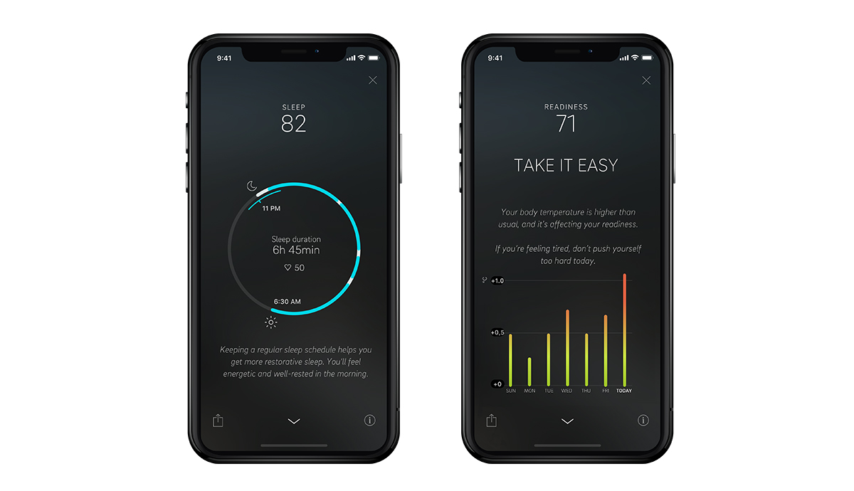 Phones with different views of the Oura app