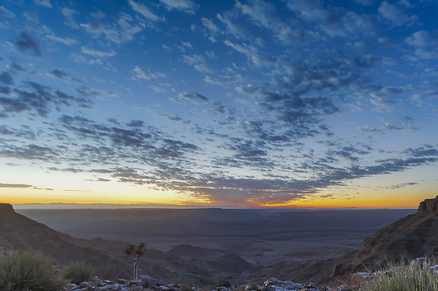 Sunrise over Fish River Canyon from Fish River Lodge     Trans-Namibia Expedition January 2018 Ray Zahab (CAN), Stefano Gregoretti (ITA) Run 2,200km / 1,367 miles across the country of Namibia