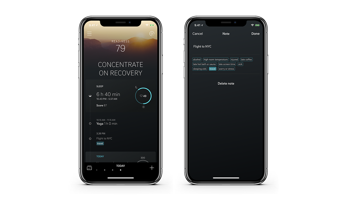 Oura app notes feature