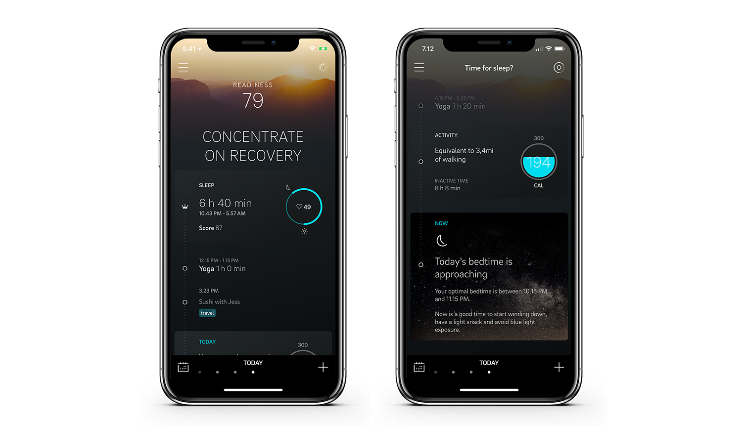 Bedtime approaching view on the Oura app