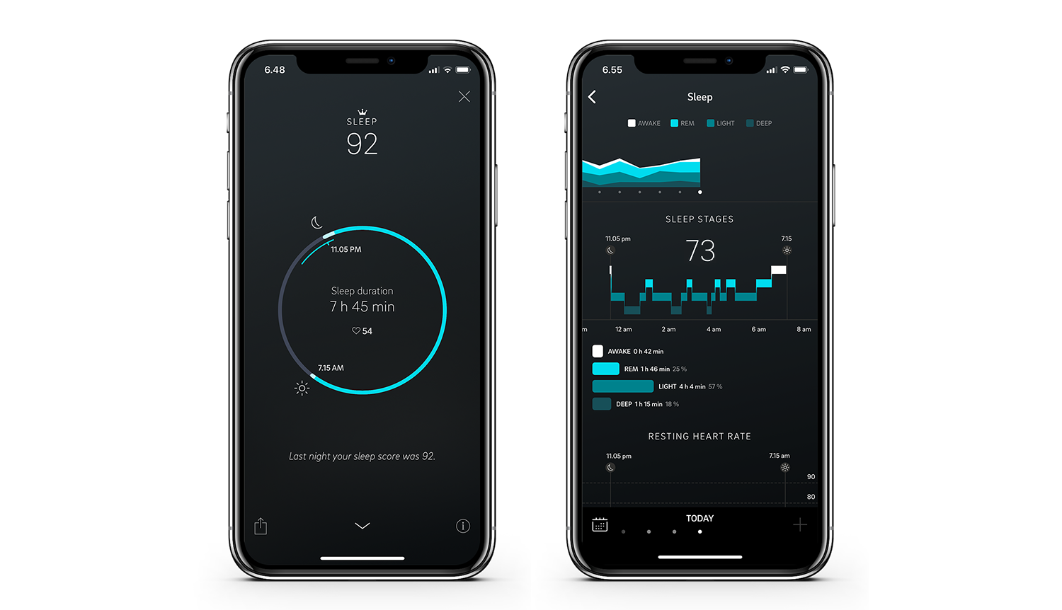 The Oura app on in two phones