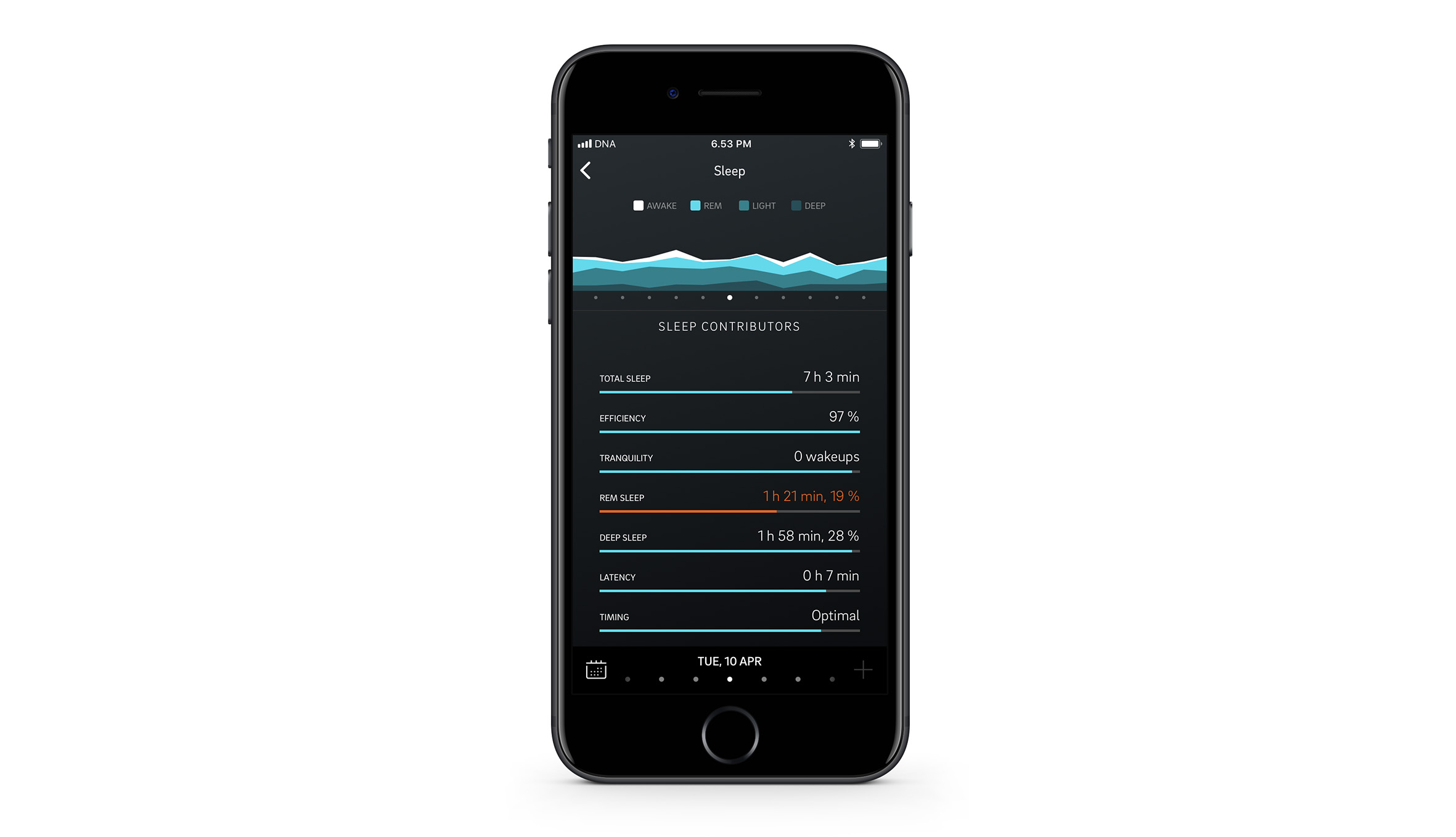 Sleep contributors on the Oura app